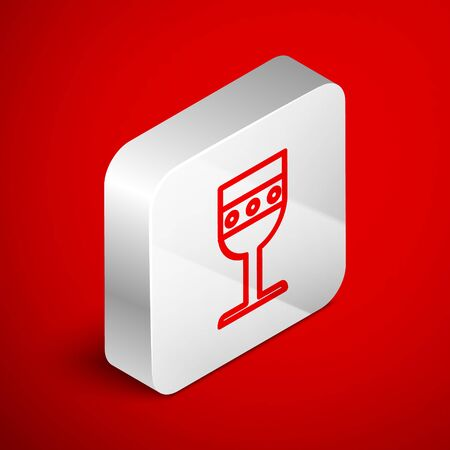 Isometric line Medieval goblet icon isolated on red background. Silver square button. Vector Illustration Vettoriali
