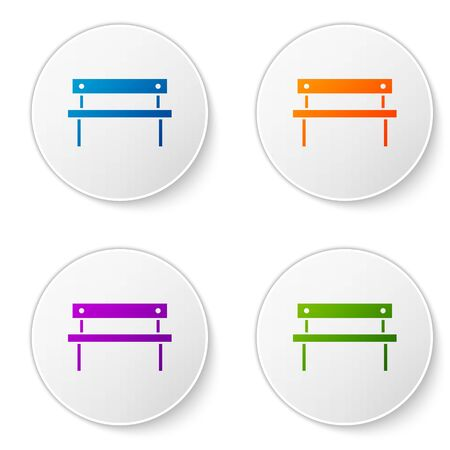 Color Bench icon isolated on white background. Set icons in circle buttons. Vector Illustration Foto de archivo - 138268886