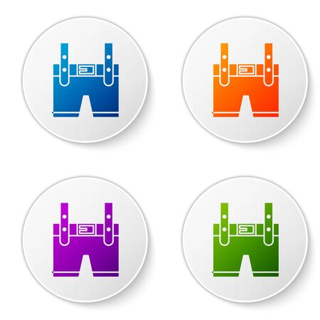 Color Lederhosen icon isolated on white background. Traditional bavarian clothing. Oktoberfest outfit. Pants with suspenders. Patrick day. Set icons in circle buttons. Vector Illustration
