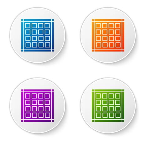 Color Checkered napkin icon isolated on white background. Set icons in circle buttons. Vector Illustration