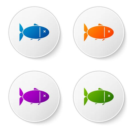 Color Fish icon isolated on white background. Set icons in circle buttons. Vector Illustration