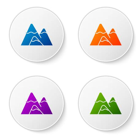 Color Mountains icon isolated on white background. Symbol of victory or success concept. Set icons in circle buttons. Vector Illustration