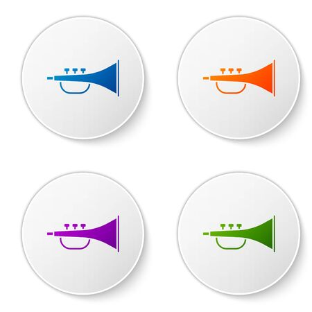 Color Musical instrument trumpet icon isolated on white background. Set icons in circle buttons. Vector Illustration