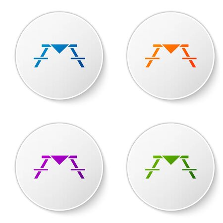 Color Picnic table with benches on either side of the table icon isolated on white background. Set icons in circle buttons. Vector Illustration Foto de archivo - 138283715