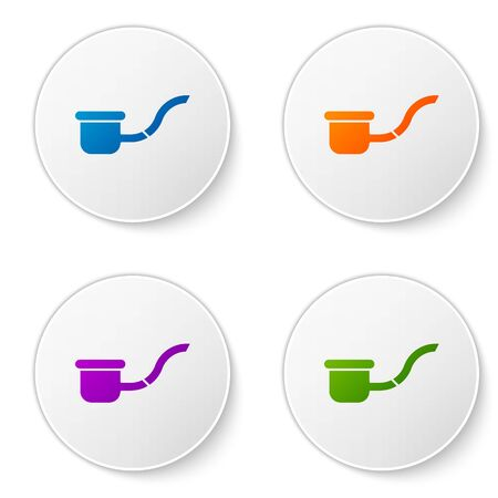 Color Smoking pipe with smoke icon isolated on white background. Tobacco pipe. Set icons in circle buttons. Vector Illustration Ilustracja