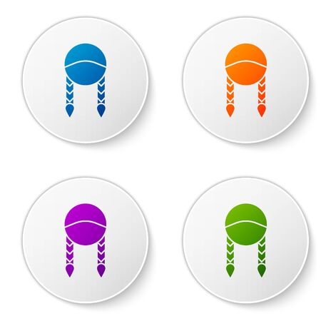 Color Braid icon isolated on white background. Set icons in circle buttons. Vector Illustration