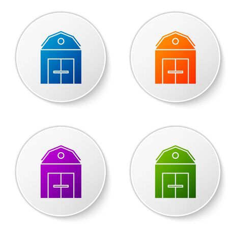 Color Farm House concept icon isolated on white background. Rustic farm landscape. Set icons in circle buttons. Vector Illustration