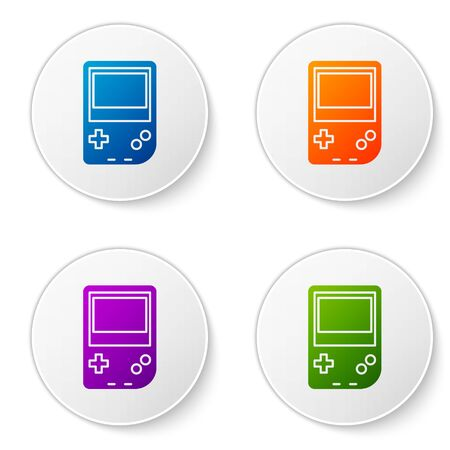 Color Portable video game console icon isolated on white background. Gamepad sign. Gaming concept. Set icons in circle buttons. Vector Illustration