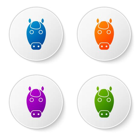 Color Horse zodiac sign icon isolated on white background. Astrological horoscope collection. Set icons in circle buttons. Vector Illustration