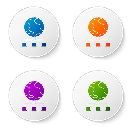 Color Computer network icon isolated on white background. Online gaming. Laptop network. Internet connection. Set icons in circle buttons. Vector Illustration Ilustrace