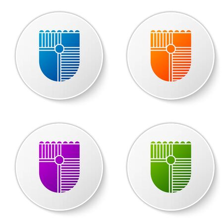 Color Shield for game icon isolated on white background. Set icons in circle buttons. Vector Illustration Illustration