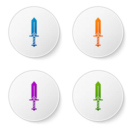 Color Sword for game icon isolated on white background. Set icons in circle buttons. Vector Illustration  イラスト・ベクター素材