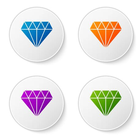 Color Diamond icon isolated on white background. Jewelry symbol. Gem stone. Set icons in circle buttons. Vector Illustration