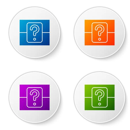 Color Mystery box or random loot box for games icon isolated on white background. Question box. Set icons in circle buttons. Vector Illustration