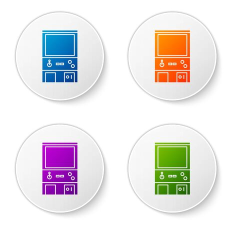Color Retro arcade game machine icon isolated on white background. Set icons in circle buttons. Vector Illustration