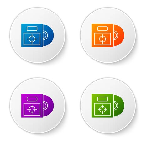 Color CD or DVD disk in box icon isolated on white background. Compact disc sign. Set icons in circle buttons. Vector Illustration Illusztráció