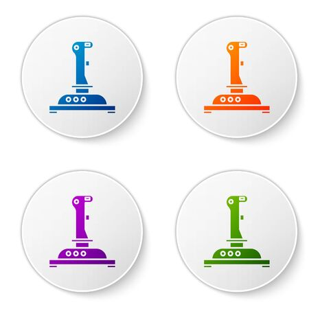 Color Joystick for arcade machine icon isolated on white background. Joystick gamepad. Set icons in circle buttons. Vector Illustration