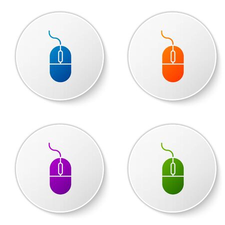 Color Computer mouse icon isolated on white background. Optical with wheel symbol. Set icons in circle buttons. Vector Illustration Ilustração