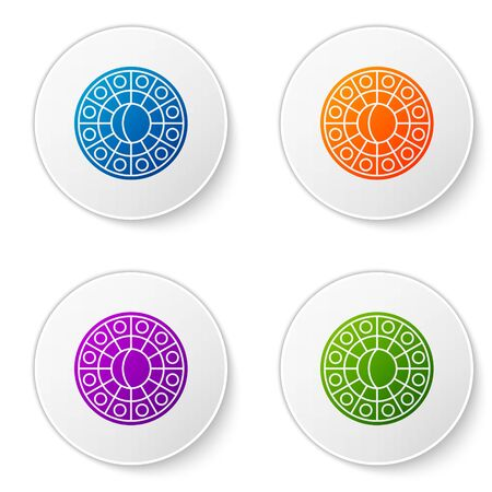 Color Astrology horoscope circle with zodiac icon isolated on white background. Set icons in circle buttons. Vector Illustration