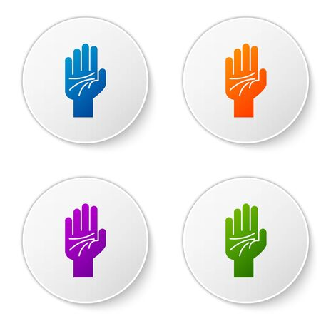 Color Palmistry of the hand icon isolated on white background. Set icons in circle buttons. Vector Illustration