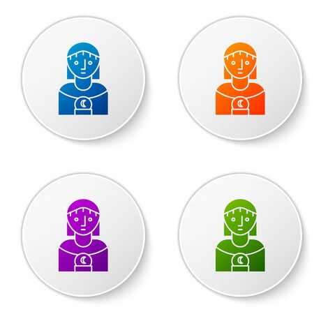 Color Astrology woman icon isolated on white background. Set icons in circle buttons. Vector Illustration