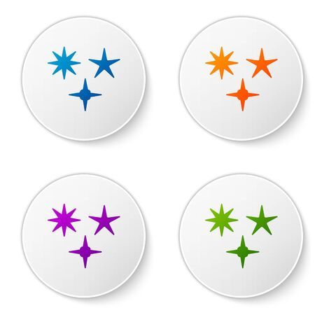 Color Falling star icon isolated on white background. Meteoroid, meteorite, comet, asteroid, star icon. Set icons in circle buttons. Vector Illustration Banco de Imagens - 138270481