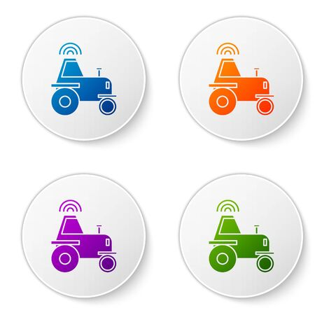 Color Self driving wireless tractor on a smart farm icon isolated on white background. Smart agriculture implement element. Set icons in circle buttons. Vector Illustration