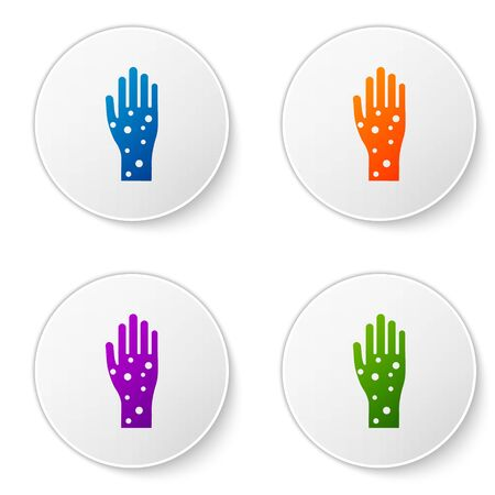 Color Hand with psoriasis or eczema icon isolated on white background. Concept of human skin response to allergen or chronic body problem. Set icons in circle buttons. Vector Illustration