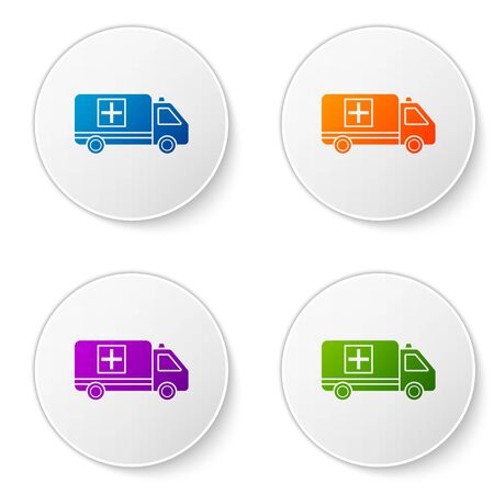 Color Ambulance and emergency car icon isolated on white background. Ambulance vehicle medical evacuation. Set icons in circle buttons. Vector Illustration Stock Illustratie