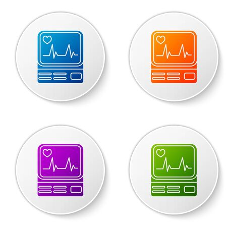 Color Computer monitor with cardiogram icon isolated on white background. Monitoring icon. ECG monitor with heart beat hand drawn. Set icons in circle buttons. Vector Illustration Çizim