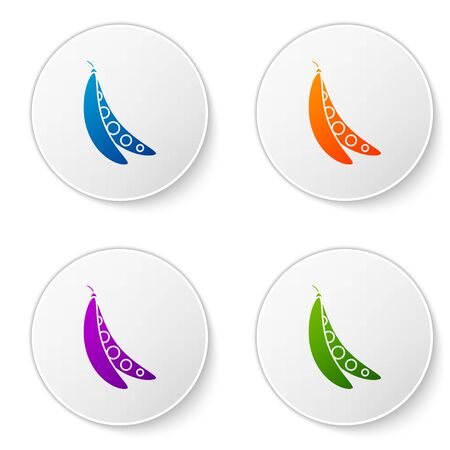 Color Kidney beans icon isolated on white background. Set icons in circle buttons. Vector Illustration
