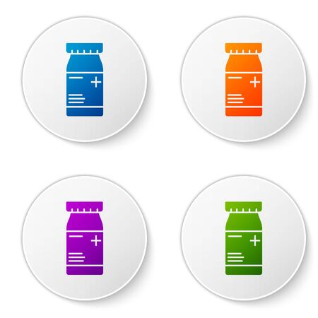 Color Medicine bottle and pills icon isolated on white background. Bottle pill sign. Pharmacy design. Set icons in circle buttons. Vector Illustration