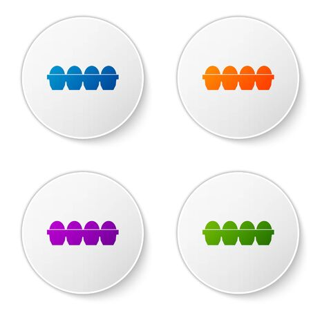 Color Chicken egg in box icon isolated on white background. Set icons in circle buttons. Vector Illustration