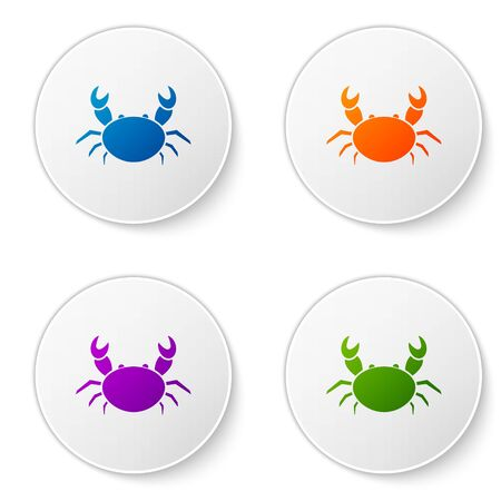 Color Crab icon isolated on white background. Set icons in circle buttons. Vector Illustration