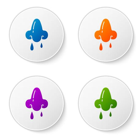 Color Runny nose icon isolated on white background. Rhinitis symptoms, treatment. Nose and sneezing. Nasal diseases. Set icons in circle buttons. Vector Illustration