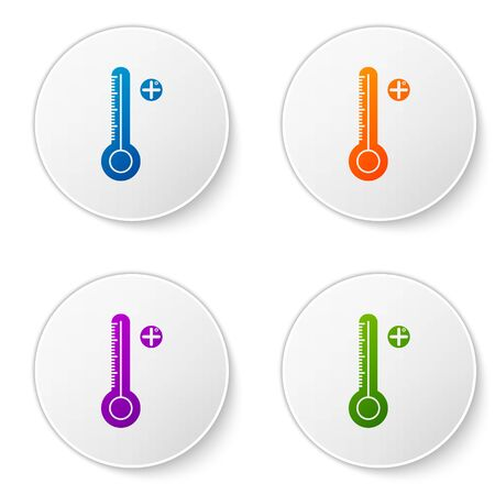 Color Medical digital thermometer for medical examination icon isolated on white background. Set icons in circle buttons. Vector Illustration