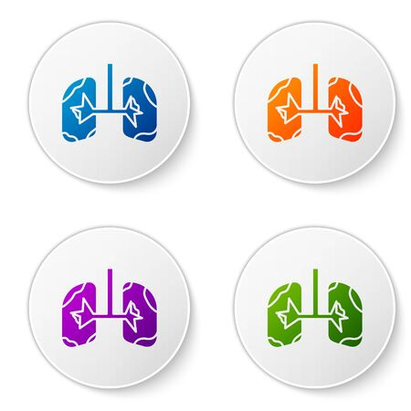 Color Lungs icon isolated on white background. Set icons in circle buttons. Vector Illustration