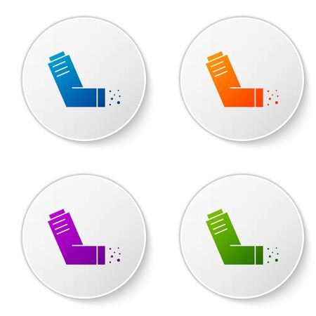 Color Inhaler icon isolated on white background. Breather for cough relief, inhalation, allergic patient. Medical allergy asthma inhaler spray. Set icons in circle buttons. Vector Illustration Ilustração