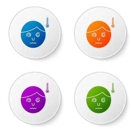 Color High human body temperature or get fever icon isolated on white background. Disease, cold, flu symptom. Set icons in circle buttons. Vector Illustration Banque d'images - 138276934
