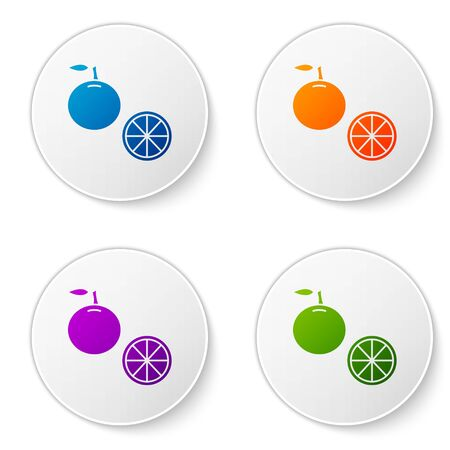 Color Orange fruit icon isolated on white background. Set icons in circle buttons. Vector Illustration