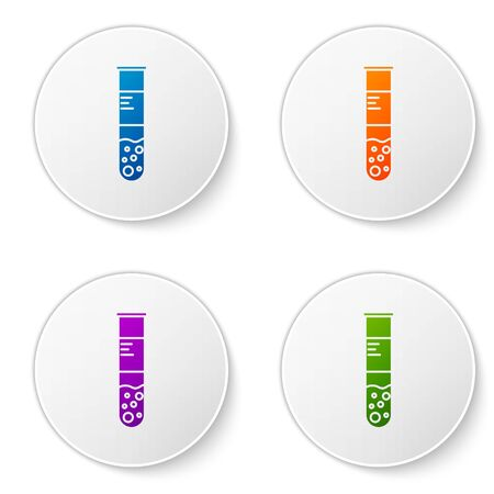 Color Test tube and flask chemical laboratory test icon isolated on white background. Laboratory glassware sign. Set icons in circle buttons. Vector Illustration