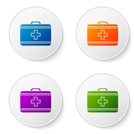 Color First aid kit icon isolated on white background. Medical box with cross. Medical equipment for emergency. Healthcare concept. Set icons in circle buttons. Vector Illustration Çizim