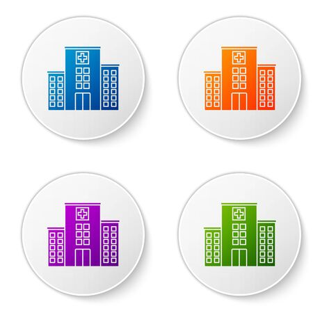 Color Medical hospital building with cross icon isolated on white background. Medical center. Health care. Set icons in circle buttons. Vector Illustration Çizim