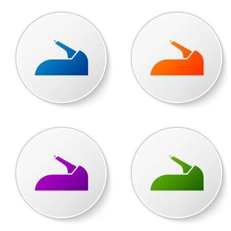 Color Car handbrake icon isolated on white background. Parking brake lever. Set icons in circle buttons. Vector Illustration