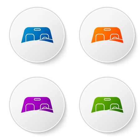 Color Car windscreen icon isolated on white background. Set icons in circle buttons. Vector Illustration