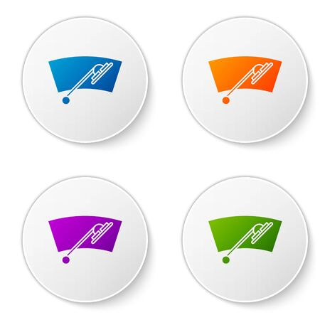 Color Windscreen wiper icon isolated on white background. Set icons in circle buttons. Vector Illustration