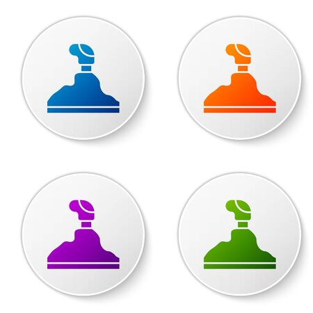Color Gear shifter icon isolated on white background. Transmission icon. Set icons in circle buttons. Vector Illustration Vector Illustration