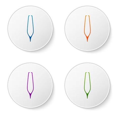 Color Eyebrow tweezers icon isolated on white background. Cosmetic tweezers for ingrown hair. Set icons in circle buttons. Vector Illustration