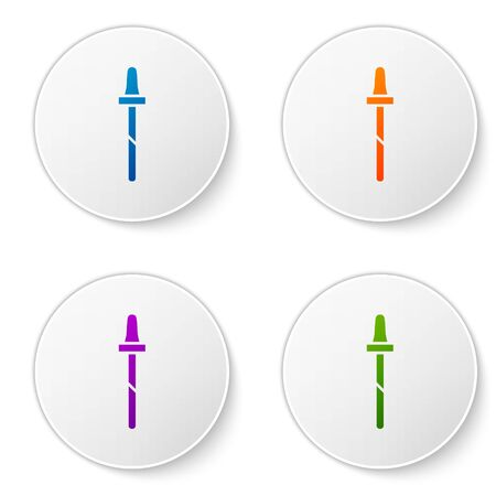 Color Pipette icon isolated on white background. Element of medical, cosmetic, chemistry lab equipment. Set icons in circle buttons. Vector Illustration