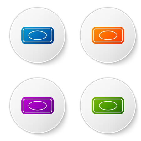 Color Bar of soap with foam icon isolated on white background. Soap bar with bubbles. Set icons in circle buttons. Vector Illustration